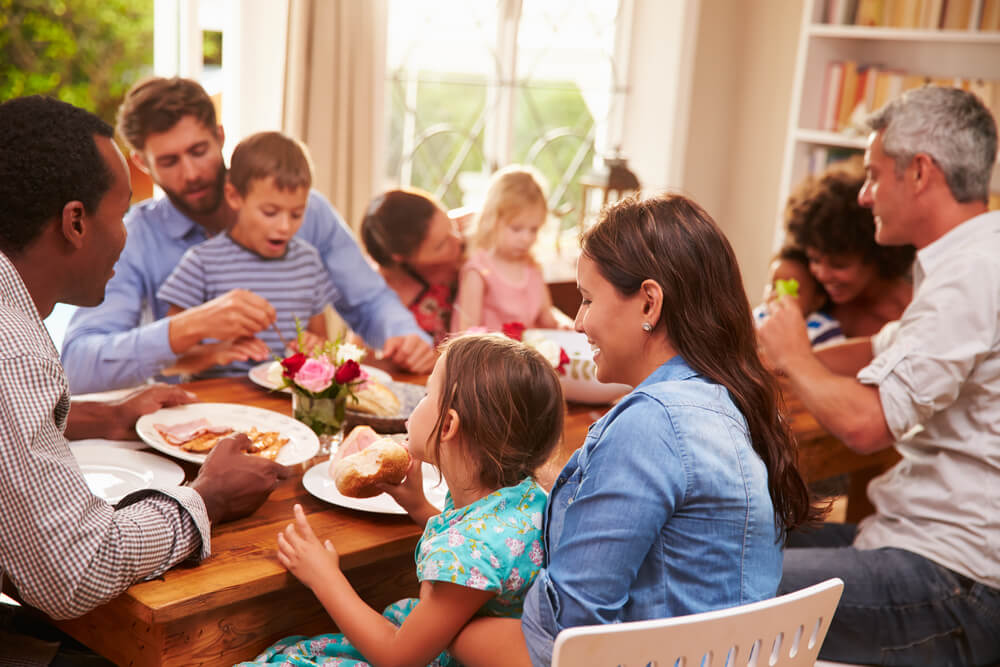 food for parents at a kids' party - parents and toddlers dining together