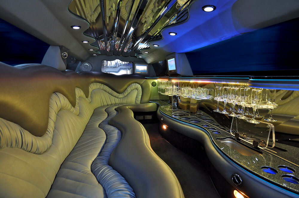 limousine interior - brown leather seats