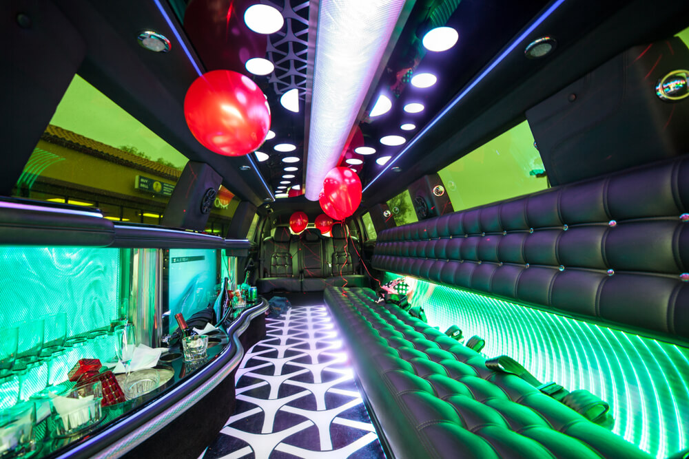 limousine interior - green neon lights