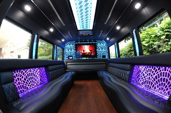 party buses or limos - party bus interior daytime