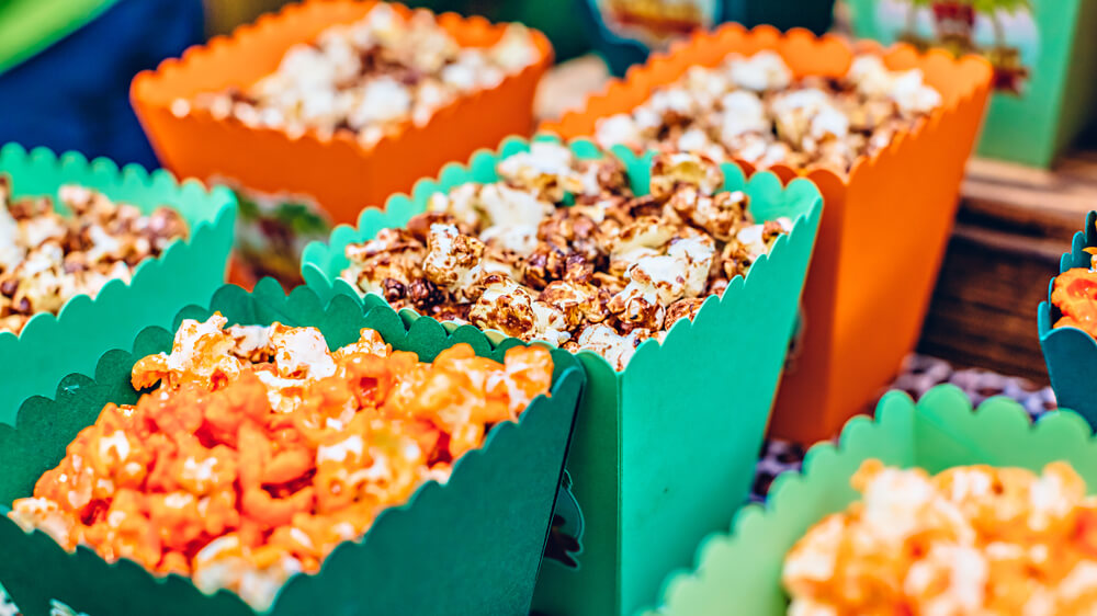 popcorn in colorful containers